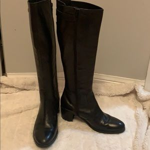 Browns knee high leather  boots with side zip